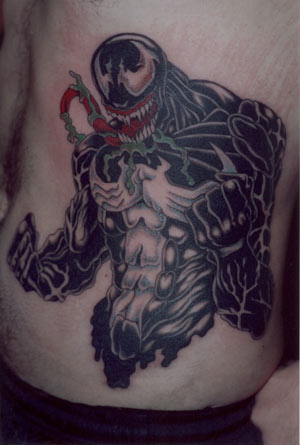Large Venom Rib Cage Tattoo. Time to Completion: x