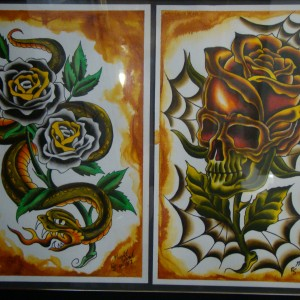 NightWind Tattoo Flash Snake & Skull Flower